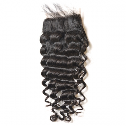 Sidary Hair Lace Closure 5x5 Deep Wave 100% Human hair 10-20 Natural Hairline Virgin Hair