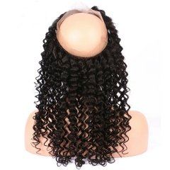"Sidary Hair Deep Wave Curly 360 Lace Frontal Band With Adjustable Strap 22.5""x4""x2"" Natural Hairline"