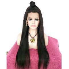 Sidary Top Best 100% Virgin Remy Human Hair Long Straight Black Full Lace Wig