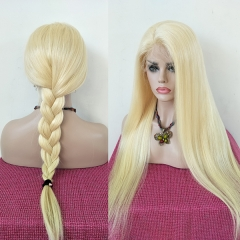 Sidary Blonde Silk Base Full Lace Wigs White Women Straight Virgin Human Hair Blond #613 With Transparent Lace