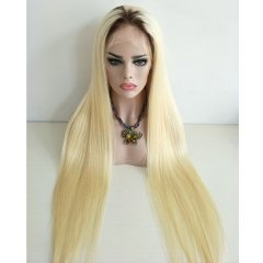 Sidary Ombre Blonde Human Hair Wigs Dark Roots #4T#613 Straight Full Lace Wigs