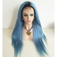 Sky Blue Human Hair Lace Wigs With Dark Roots Straight 10A Virgin Raw Hair Full Wigs