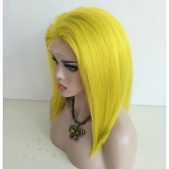 Sidary Bob Blunt Cut Yellow Straight Baby Hair Around Human Hair Full Lace Wig Preplucked  Natural Hairline