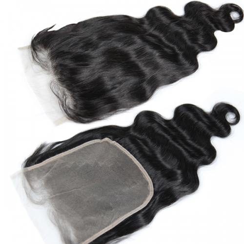 Transparent Lace Body Wave 7x7 Virgin Human Hair Baby Hair Around Lace Closure Pieces With Preplucked Natural Hairline