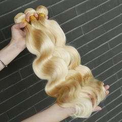 Sidary Blonde Virgin Human Hair Body Wave Bundle Extension 613 Full Blonde 3 Bundles Hair Weft