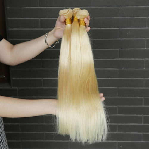 Sidary #613 Blonde Virgin Human Hair Machine Made Weft 3 Bundles Extension