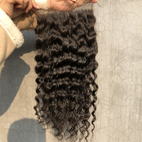 Deep Wave 7x7 Human Hair Pre Plucked Natural Hairline Lace Top Closure Piece Sidary Hair