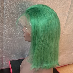 Transparent Lace Sidary Green Bob Human Hair Lace Wig