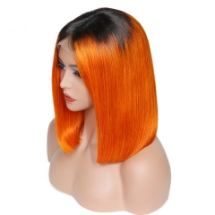 Sidary Ombre 1B Orange Color Remy Hair Lace Front Wig Transparent Lace Wig