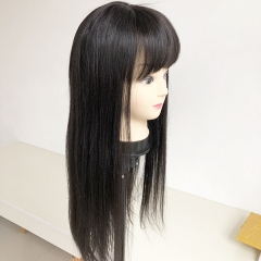 Sidary Top Best 100% Remy Human Hair Long Silk Straight Black Wig With Bang