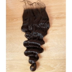 10-20Inch 4x4 Loose Deep Wave Human Hair Lace Closure Piece With Baby Hair