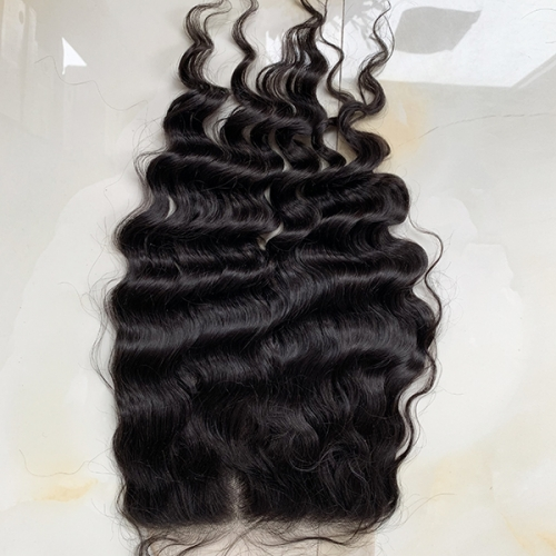 Wholesale Price Swiss Lace 7x7 Pre-plucked Natural Hairline Deep Wave Transparent Lace Closure