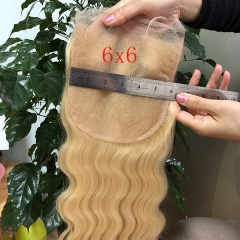 Blonde Sidary Hair 6x6 Lace Closure Piece #613 Platinum Blonde Human Hair Closure