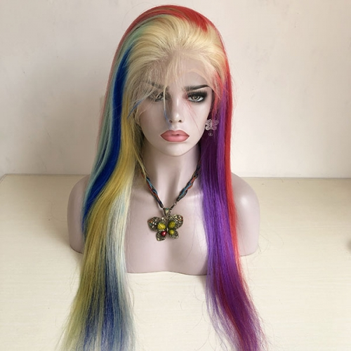 Rainbow Of Hair Wig Sidary Best Rainbow Human Hair Colorful Full Lace Wigs