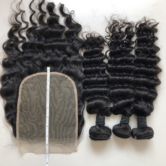 Sidary Hair Brazilian Deep Wave 3 Bundles With Closure Human Hair Weave Bundles 7x7 Lace Closure With Bundles Free Part