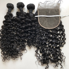 Human Hair Weave Bundles With Closure 6x6 Sidary Hair Water Wave 6*6 Lace Closure With Human Hair Extensions