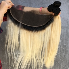 Sidary Blonde Ombre Hair Color 1B/613 Straight Hair Bundles with 13x4 Lace Frontal