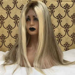 Sidary Ombre Blonde Hightlight Human Hair Brown Lace Wig