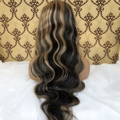 Sidary Virgin Remy Ombre Brown Highlight Body Wave Human Hair Wigs