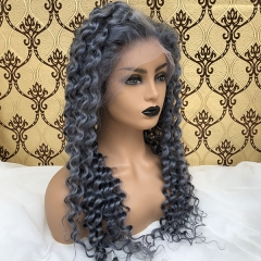 Sidary Grey Virgin Curly Human Hair Wig Transparent Lace Color Wig