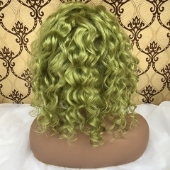 Sidary Emerald Green Human Hair Curly Full Lace Wig