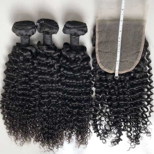 Sidary Hair Deep Curly Hair 5*5 Lace Closure with 3 Bundles Brazilian 100% Real Hair Bundles With Closure