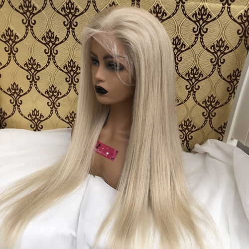 Sidary Hair Colored #60 Platinum Blonde Human Hair Wigs Full Lace Wig for Women with Baby Hair