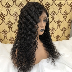 Deep Wave Virgin Hair Wigs 360 Lace Front Human Hair Wigs Pre Plucked Bleached Knots 360 Lace Human Hair Wigs for Black Women