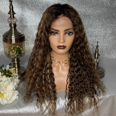 Sidary Virgin Remy Ombre Brown Highlight Curly Human Hair Wigs