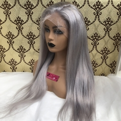 Pre Plucked Silver Grey Human Hair Front Lace Wigs