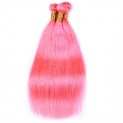 Sidary Pink Human Hair Bundles With 13x4 Ear to Ear Human Hair Frontal Pieces
