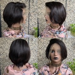 13x6 Lace Front Short Human Hair Wigs For Black Women Pre Plucked 180%Density Bob Wig Glueless Hair Wigs