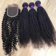 Kinky Curly Human Hair With Closure 3 Bundles With Closure Brazilian Curly Hair With 4x4 Closure Sidary Hair