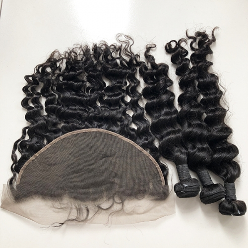 Sidary Hair Loose Wave Human Hair Weave With 13x6 Lace Frontal Closure Piece