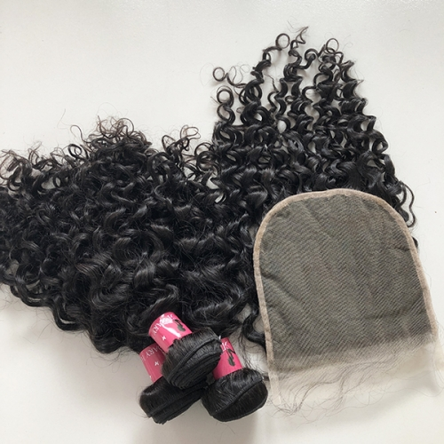 Water Wave Human Hair Bundles With Closure 7x7 | 7*7 Closure 100% Virgin Hair Extension