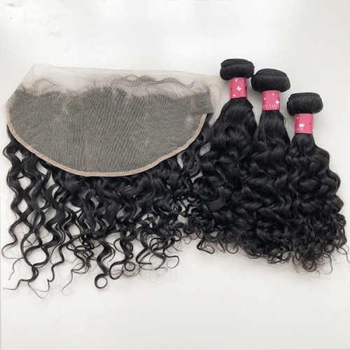 Best Water Wave Hair Bundles With 13x6 Lace Frontal Human Hair Frontal With Bundles