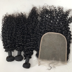 Pre Plucked 7x7 Hair Closure With Bundles Deals,Sidary Kinky Curly Human Hair Bundles With Closure