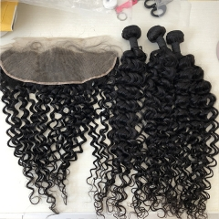 Human Jerry Curl Hair Bundles With Lace Frontal Sidary Hair 13x4 Human Hair Frontal With Human Hair Extension