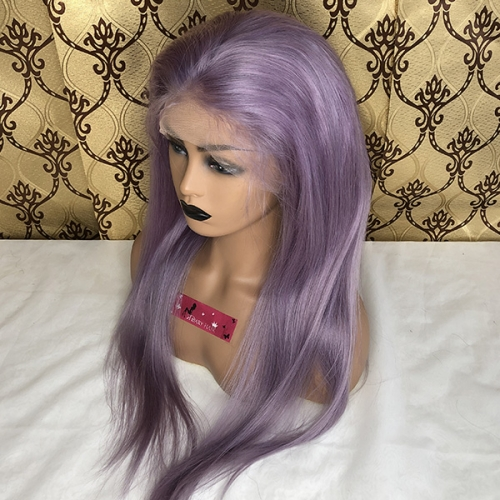 Purple Human Hair Wigs Sidary Hair Purple Full Lace Wigs On Sale!!