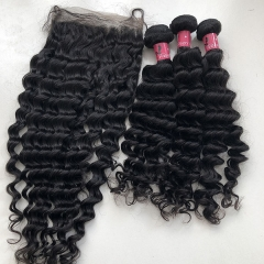 Human Hair Bundles With Closure 6x6 Deep Wave Sidary Hair Lace Closures