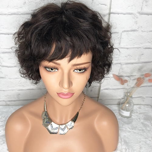 Sidary Short Curly Pixie Bob 13x6 Lace Front Human Hair Wigs 180%Density Short Wigs
