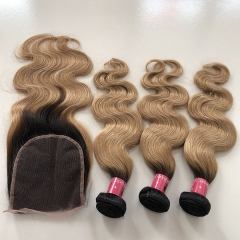Sidary Two Tone 1B/27 Body Wave Hair 3 Bundles With 5x5 Lace Closure Ombre Hair Color With Dark Roots