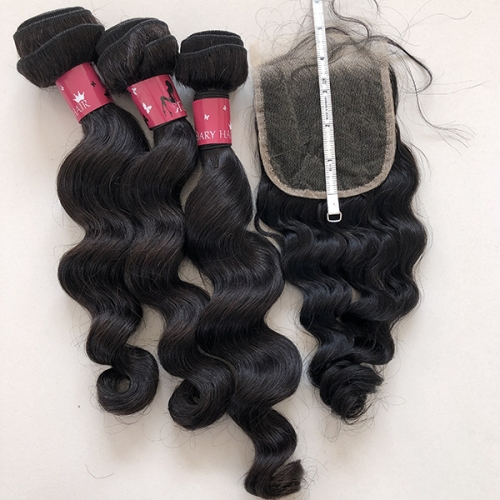 Sidary Hair 4x4 Loose Wave Lace Closure With 3 Bundles Fast Shipping Natural Loose Wave Hairstyle