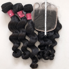 Sidary Hair Loose Wave Human Hair 3Bundles With 5x5 Lace Closure Natural Color