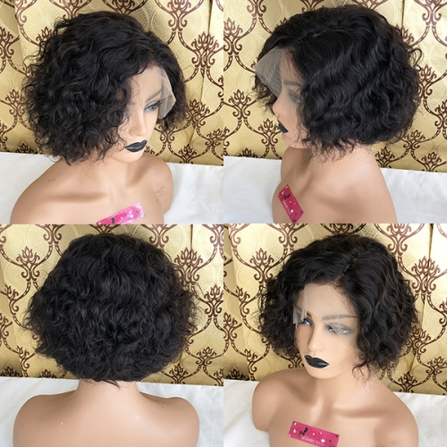180% Density Brazilian Short Curly Pixie Bob Human Hair 13x6 Lace Front Wigs with Baby Hair