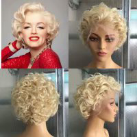 613 Blonde Pixie Cut Wig 13x6 Lace Front Human Hair Wigs For Women Water Wave Wig Blonde Bob Cut Wig