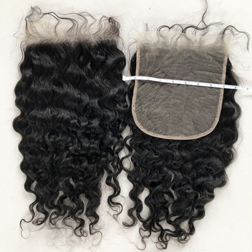 7x7 Transparent Lace Closure French Wave Human Hair Lace Closure Pieces With Preplucked Natural Hairline