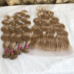 Honey Blonde #27 Color Body Wave Human Hair 3 Bundles With 13x4 Lace Frontal