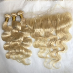 Sidary Blonde #613 Human Hair Body Wave Bundles with 13x4 Lace Frontal