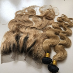 2 Tone Ombre Hair 3 Bundles With Frontal Virgin Hair Body Weft Human Hair Extensions 1b/27 ombre Blonde